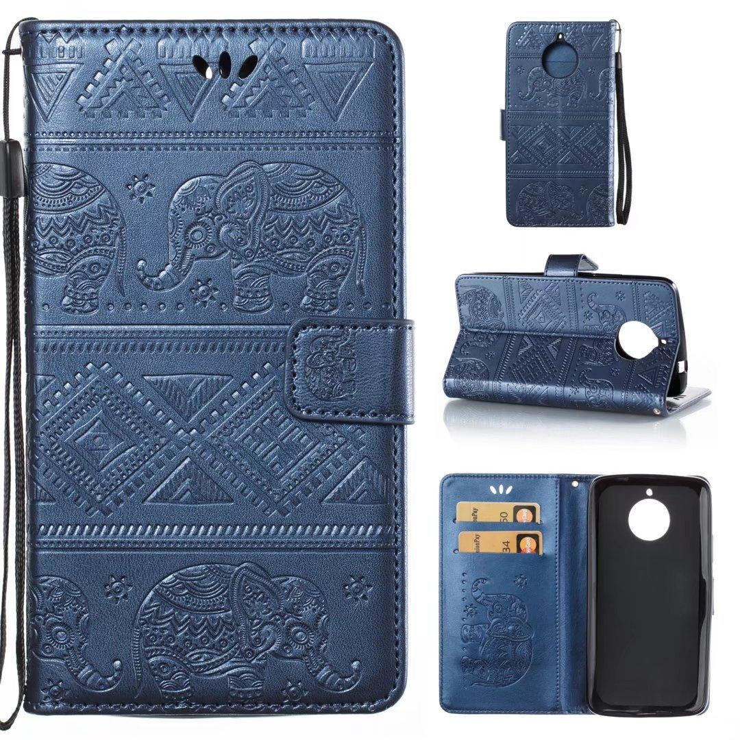 (Nicht für Moto E4 Plus) COWX Motorola Moto E4 Hülle PU Lederhülle für Motorola Moto E4 Tasche Brieftasche Schutzhülle - Blau LDdx-motoE4-ShenLan