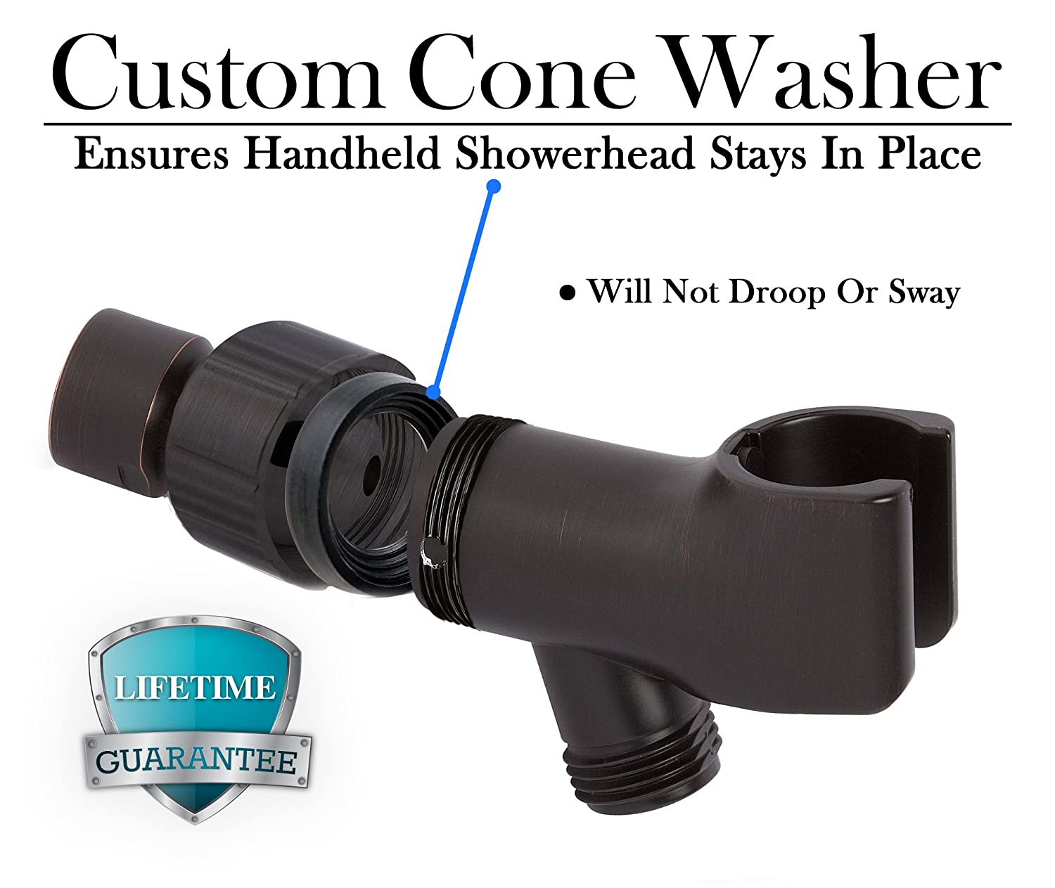 Showerhead Mounts for Handheld Showerheads Shower Head Holder in Brass Finish Arm Bracket with Swivel Ball Connector Adjustable Universal 1//2 in Male Female Shower Heads Wall Mount ShowerMaxx