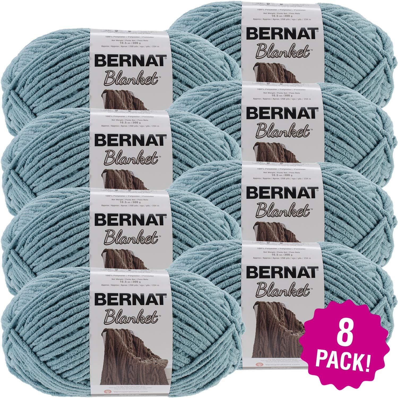 Bernat 99656 Blanket Big Ball Yarn-Teal, Multipack of 8, Pack