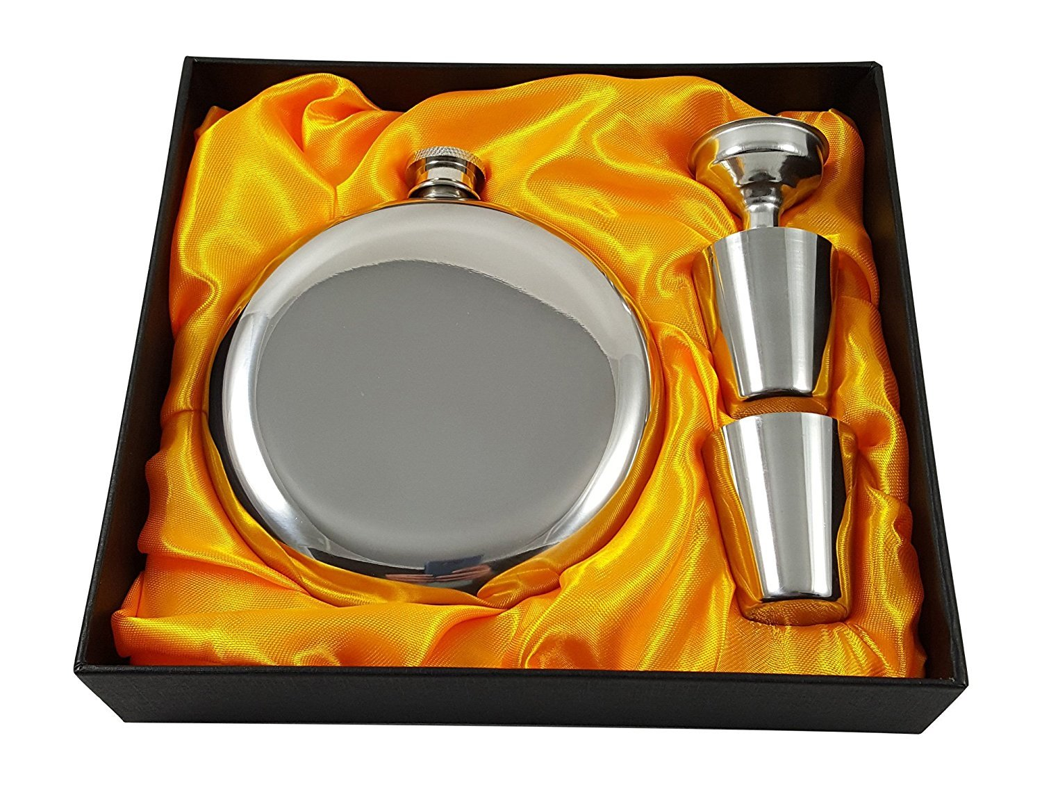 5 oz Round Flask Gift Set with Two Shot Glasses and Funnel in a Black Gift Box Palm City Products PC-RF05S