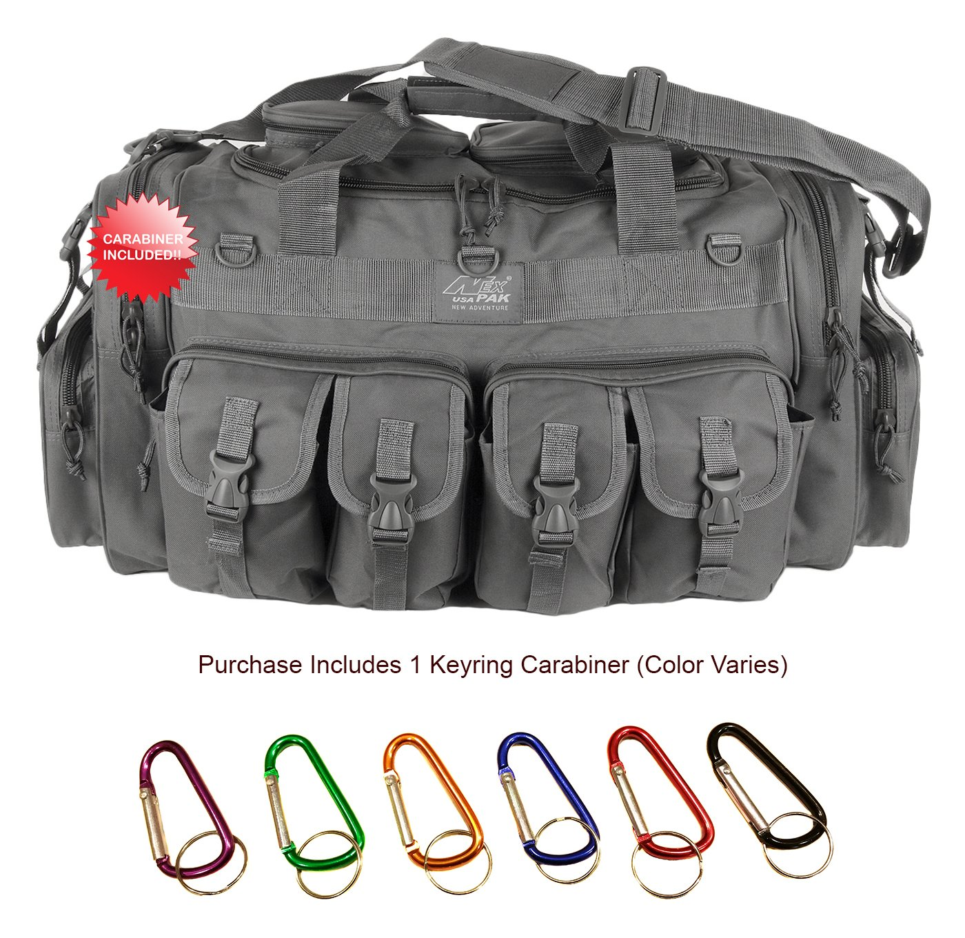 1e634700d9 Amazon.com   NPUSA Mens Gray Grey 30 Inch Convertible Backpack Duffel Molle  Tactical Shoulder Bag with Key Ring Carabiner   Sports   Outdoors