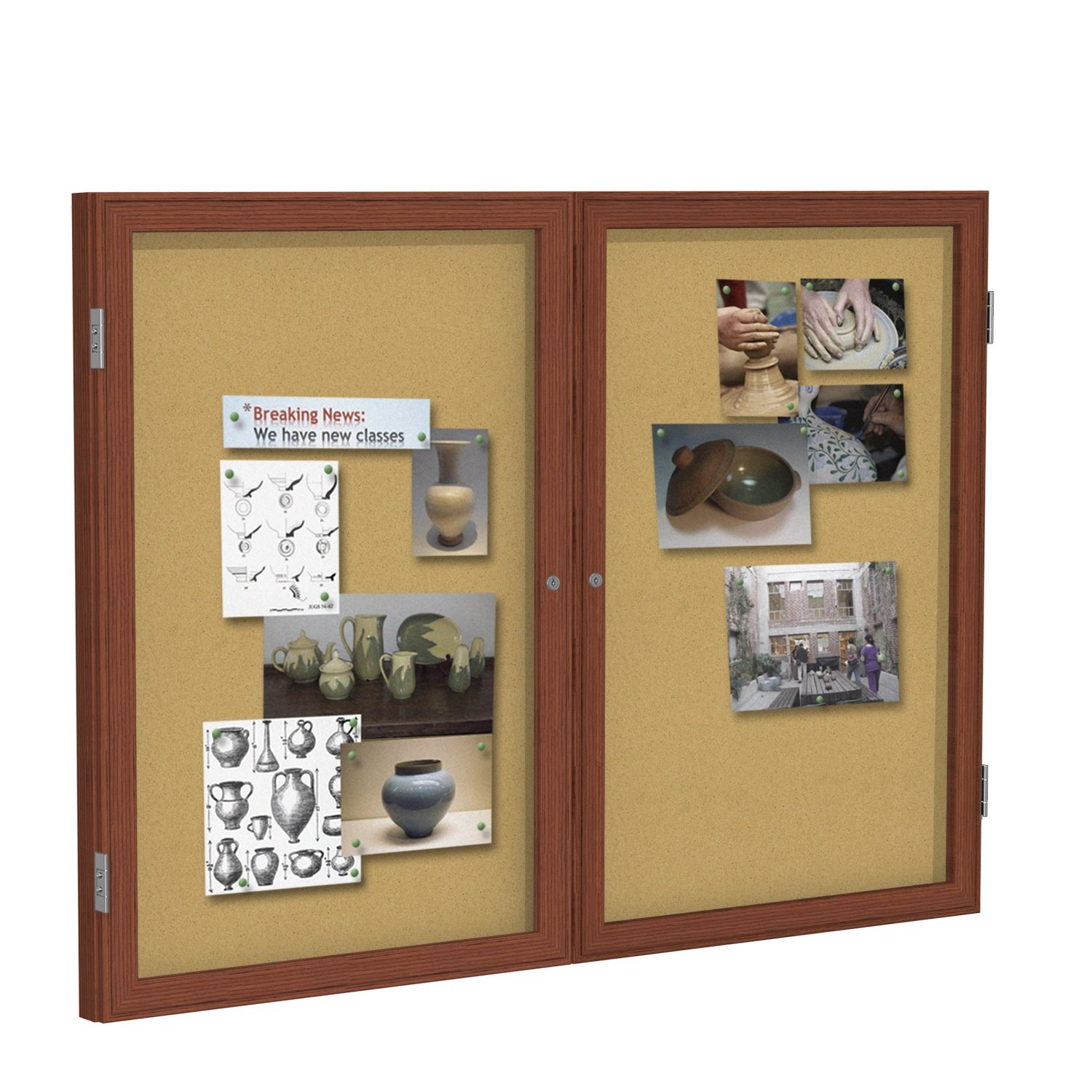 Ghent 24 x18-Inch 1-Door Satin Aluminum Frame Enclosed Tackboard, Natural Cork (PA12418K)