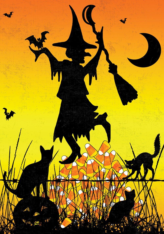 Toland Home Garden Candy Corn Witch 12.5 x 18 Inch Decorative Colorful Halloween Cat Pumpkin Bat Moon Garden Flag