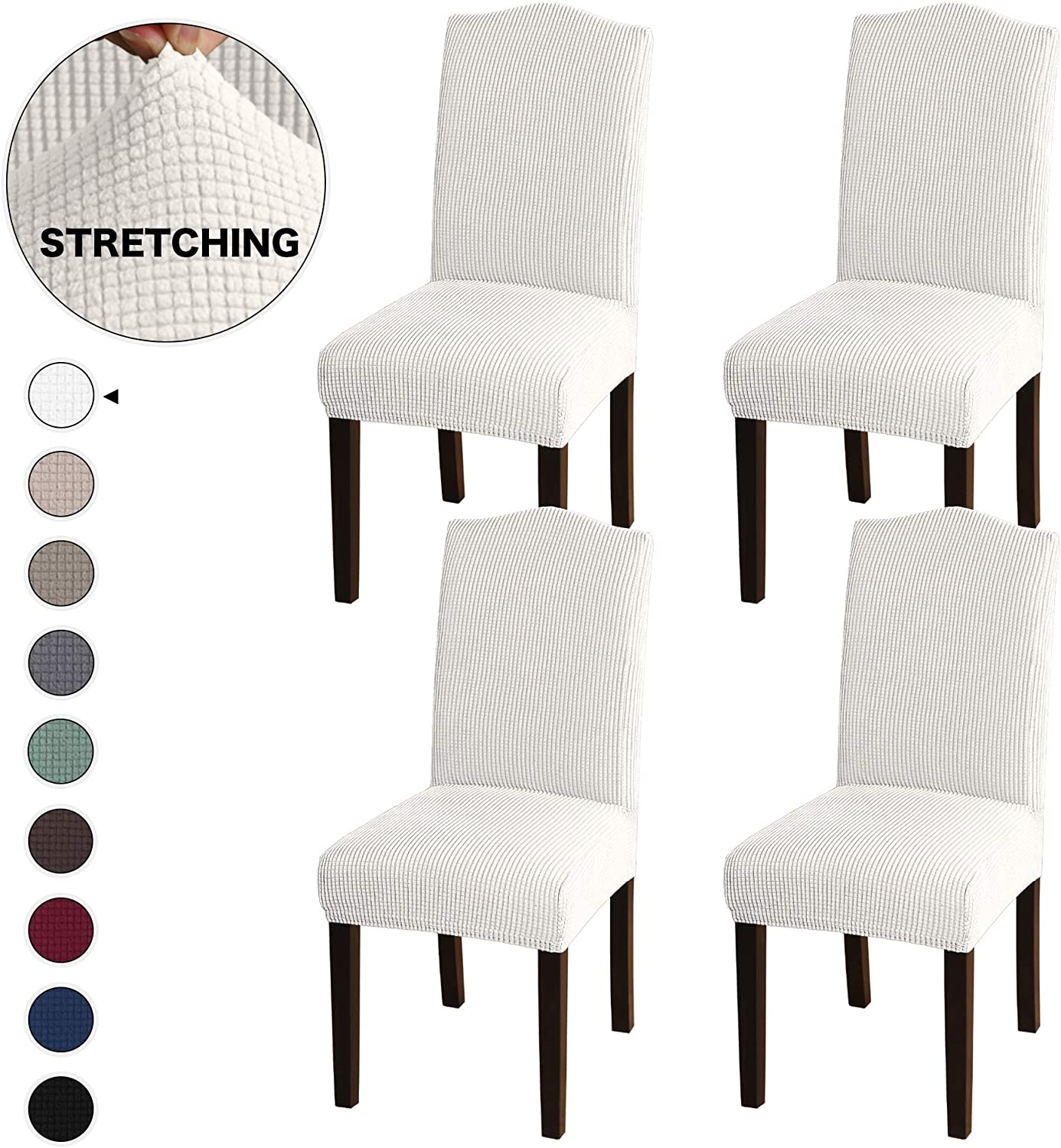 Luxury Home Faux Leather Stretch Removable Dining Chair Covers Slipcover Decor