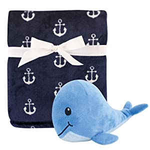 Hudson Baby Unisex Baby Plush Blanket with Toy, Anchor Whale, One Size