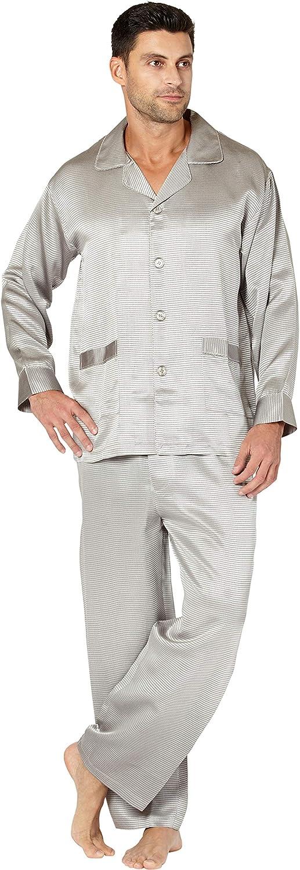 Mens Houndstooth Jacquard Silk Pajama Set
