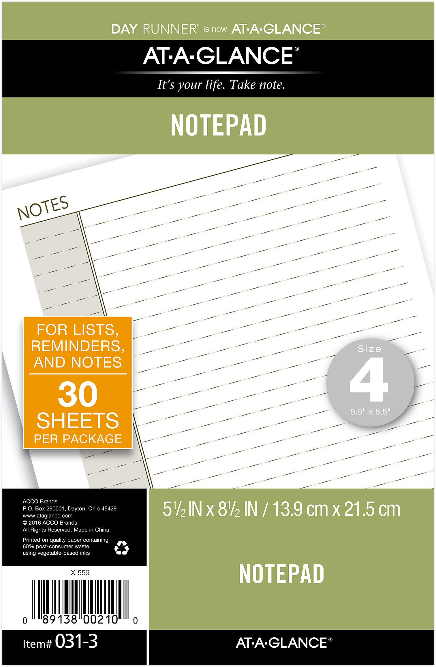 AT-A-GLANCE Day Runner Notepad Refill, 5-1/2 x 8-1/2'', Undated, Lined Note Pad (031-3)