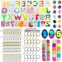 Resin Kits for Beginners, TUMPLIK 159 PCs DIY Resin Keychain Jewelry Making Kit - Backward Alphabet Silicone Casting…