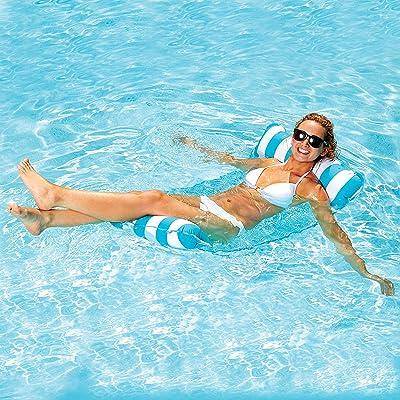 7WUNDERBAR Inflable Hamaca de Agua colchón de Aire Hamaca colchones Piscina Plegable Cama Flotante sofá de Agua Piscina salón colchón de baño Cama Flotante para Adultos (Azul Claro): Juguetes y juegos