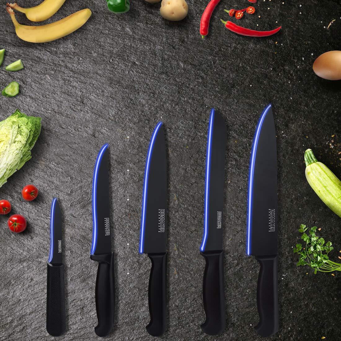 Homaker Knife Set, Black Kitchen Knife Set with High Carbon Stainless Steel Ultra Sharp Chef Knives Set, Bread Knife, Boning Knife, Paring Knife by HOMAKER (Image #1)