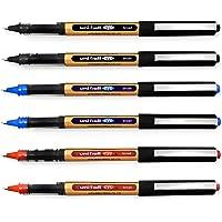 Uni-Ball Eye UB-150-10 Broad Liquid Ink Rollerball Pens - 1.0mm - Black, Blue, Red - Pack of 6