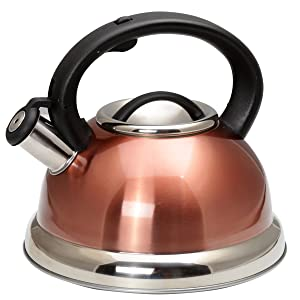 Creative Home 77066 Alexa 3.0 Qt. Stainless Steel Whistling Tea Kettle with with Capsulated Bottom, Quart, Metallic Copper Color