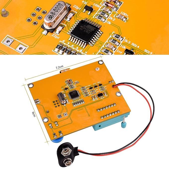 Kit Medidor Multifuncionales de Bricolaje, Kuman Medidor Transistor Gráfico Mega 328, NPN PNP Diodos Triode Condensador LCD Monitor de Resistencia ...