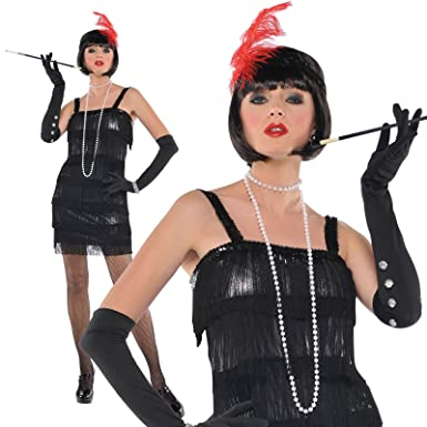 adult womens 1920s flashy flapper gangster moll halloween fancy dress costume small