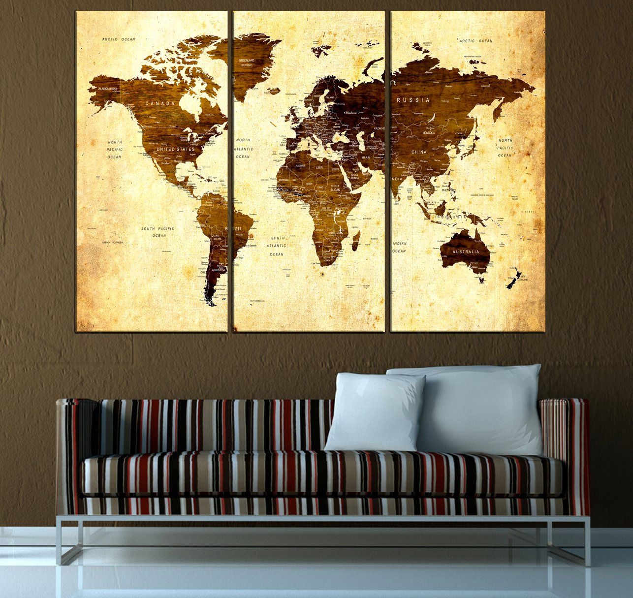 Amazon Com Large World Map Canvas Huge Large World Map Wall Art