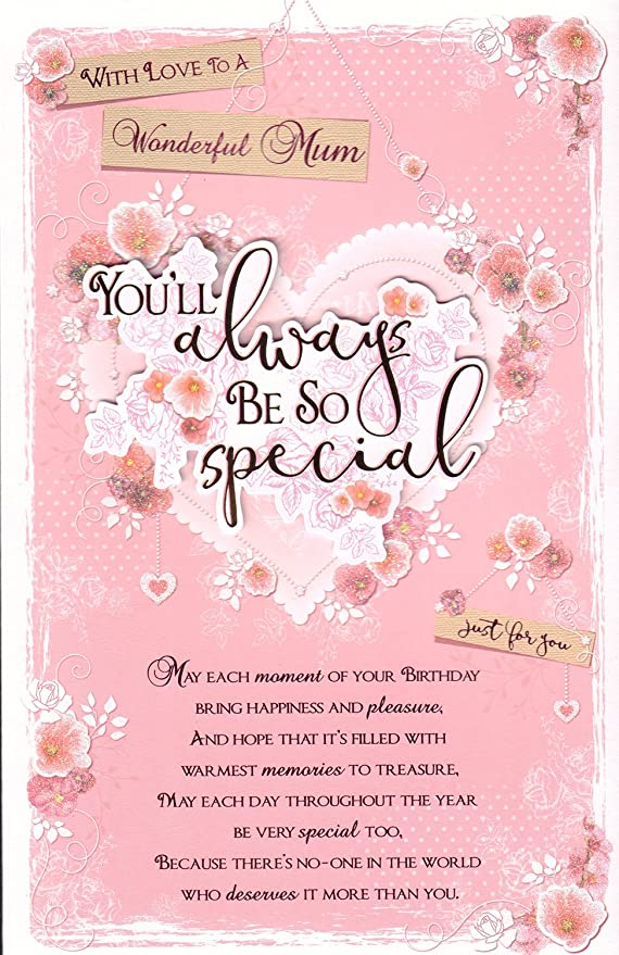 Madre Tarjeta de cumpleaños - con Love To A Wonderful Mum ...