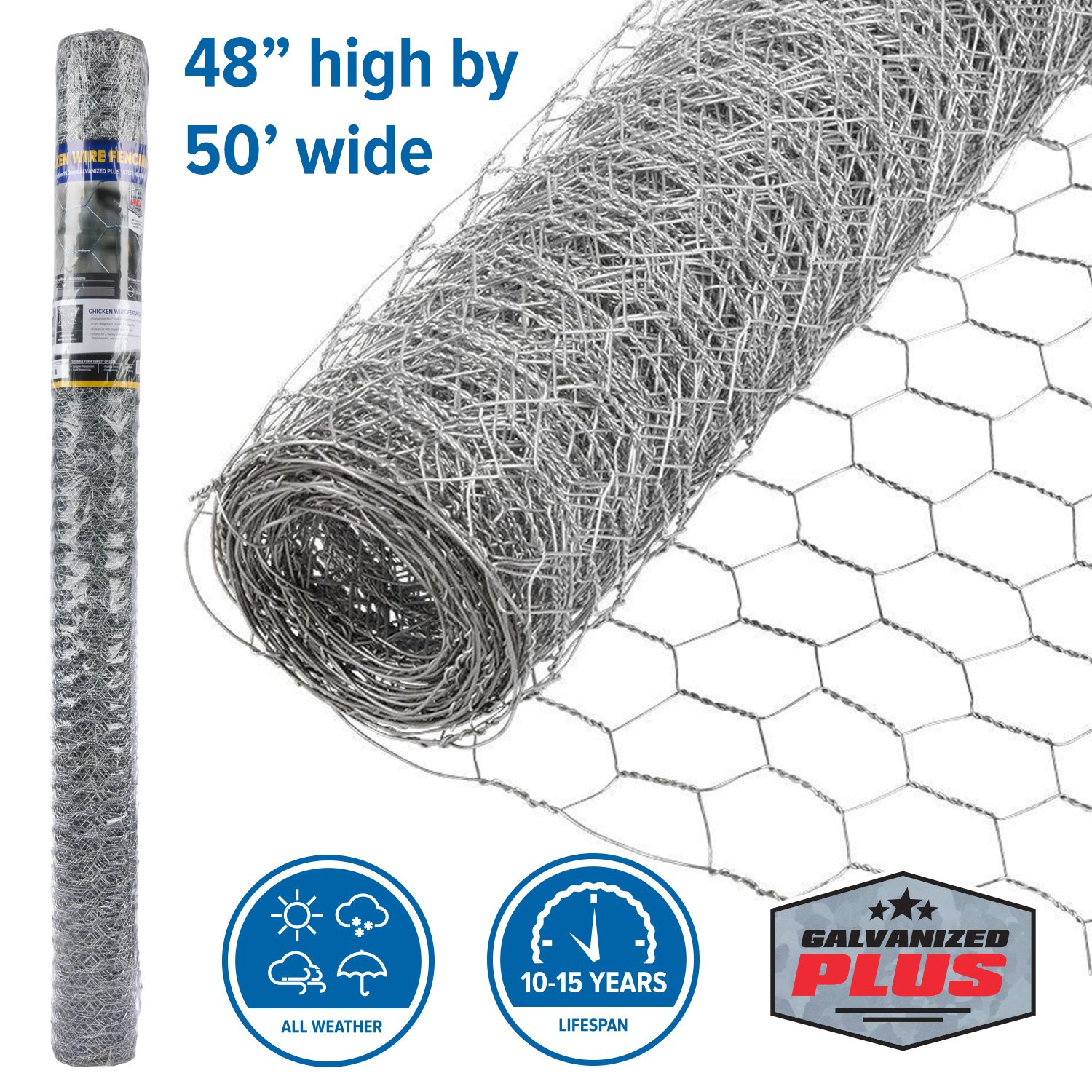 FenceScreen Galvanized Steel 1-in Mesh Chicken Wire Poultry Netting (48-in. x 50-ft.) by FenceScreen (Image #1)