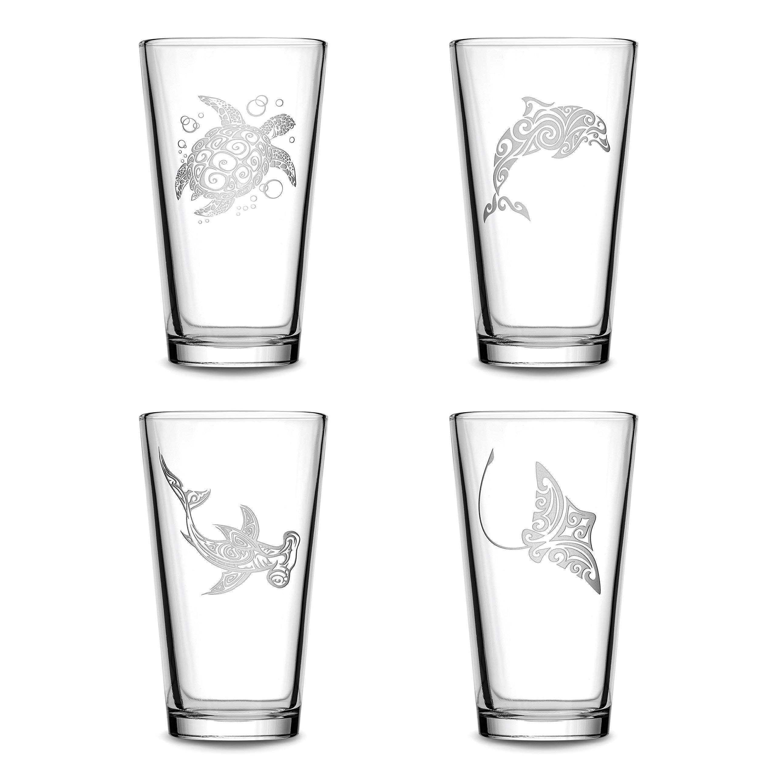Set of 4, Premium Sea Animal Pint Glasses, Sea Turtle, Dolphin, Hammerhead Shark, Eagle Ray, Made in USA, Hand Etched Tribal Design, 15.3oz Beer Glasses Sand Carved by Integrity Bottles