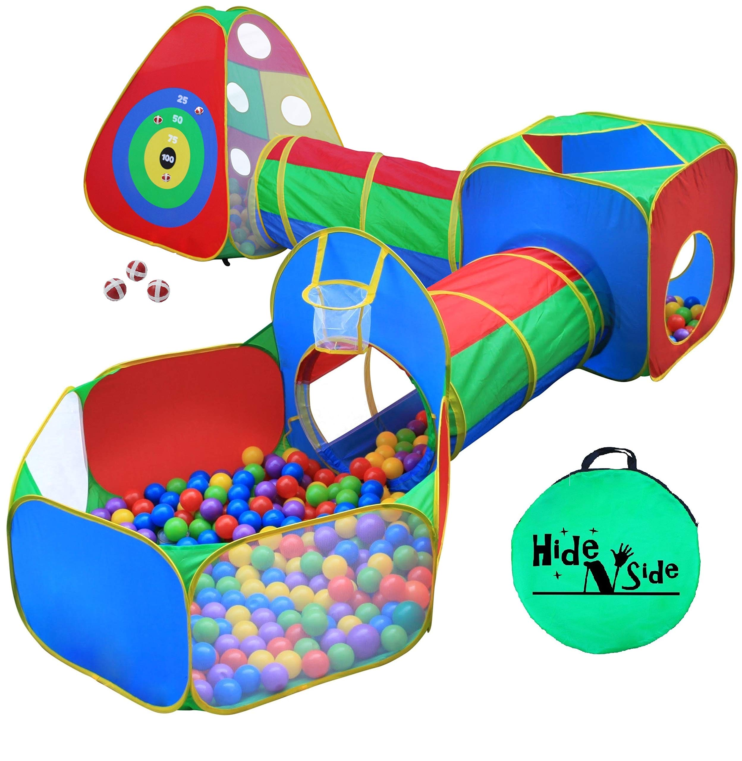 5pc Kids Ball Pit Tents and Tunnels, Toddler Jungle Gym Play Tent with Play Crawl Tunnel Toy, for Boys babies infants Children, w/ Basketball Hoop, Indoor & Outdoor, Dart Wall Game w/ 3 Dart Balls
