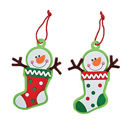 Amazon.com: Foam Snowman Stocking Christmas Ornament Craft Kit: Toys ...