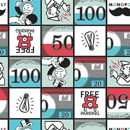 Juego de mesa telas, por 0,5 m, por Camelot – 100% algodón CAM302 Monopoly Squares: Amazon.es: Hogar