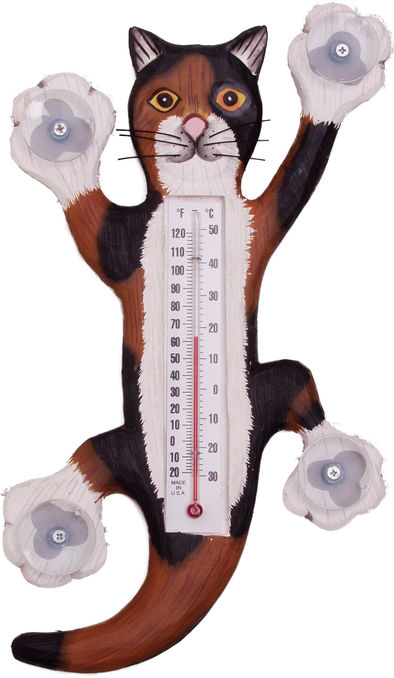 Songbird Essentials Climbing Calico Cat Large Window Thermometer