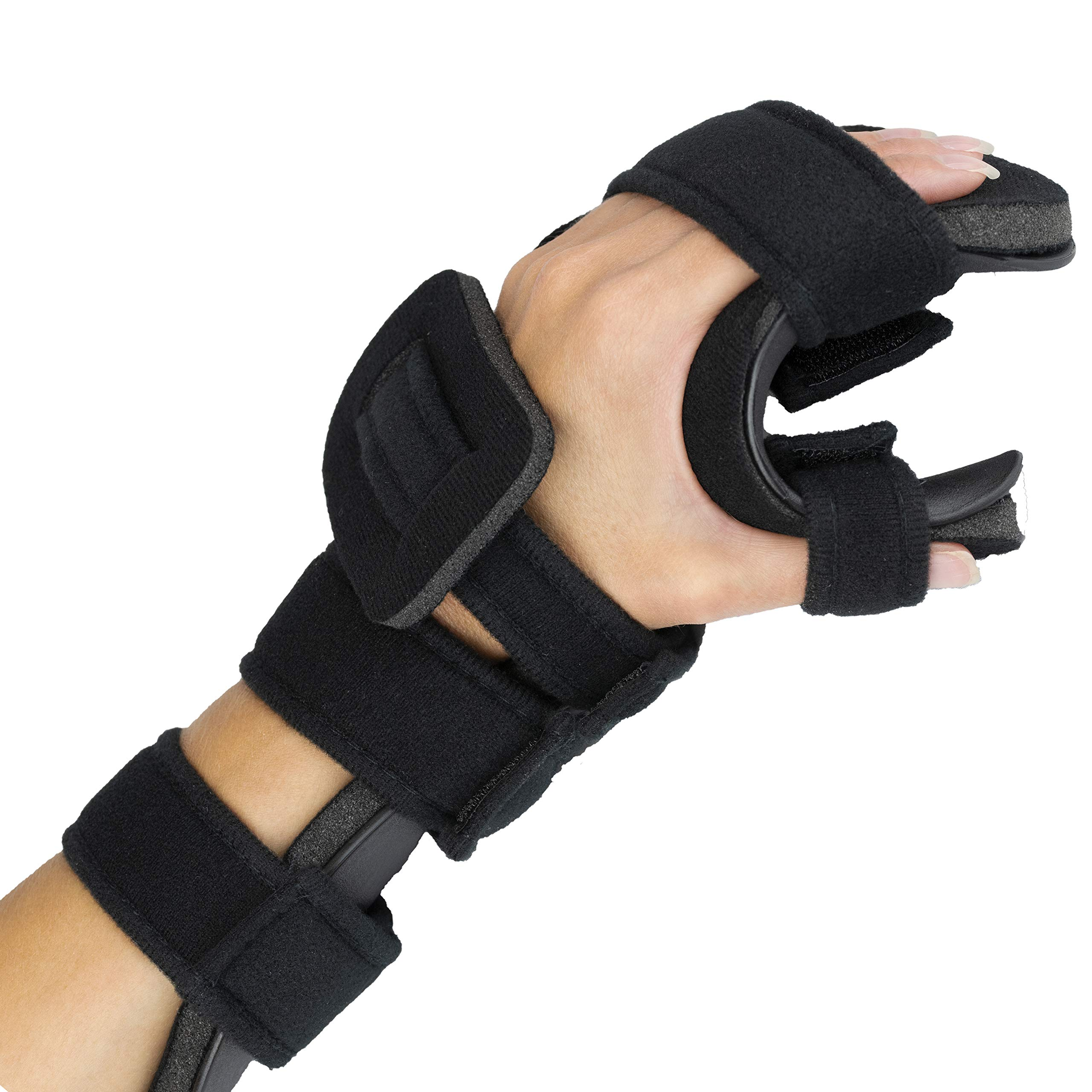 Stroke Hand Splint- Soft Resting Hand Splint for Flexion Contractures, Comfortably Stretch and Rest Hands for Long Term Ease with Functional Hand Splint, an American Heritage Industries (Left, Medium) by American Heritage Industries