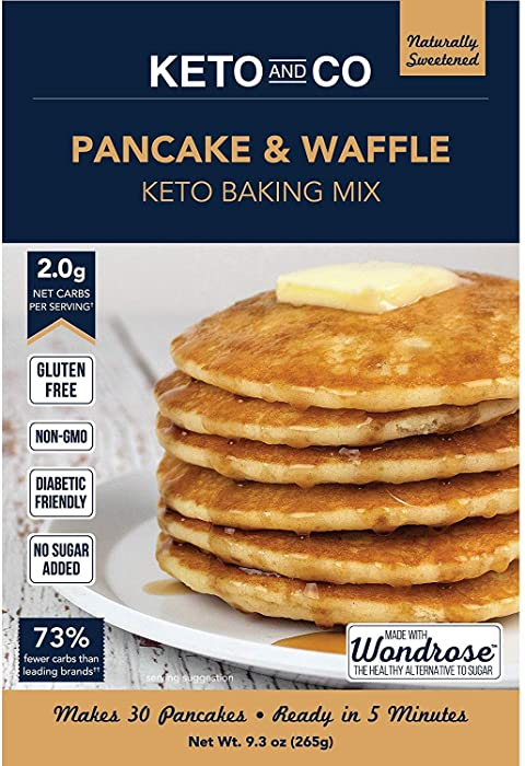 Keto Pancake & Waffle Mix by Keto and Co | Fluffy, Gluten Free, Low Carb Pancakes | 2.0g Net Carbs per Serving | No Sugar Added | Makes 30 Pancakes