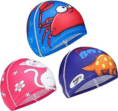QKURT 3pcs Gorras de natación de Tela, Dibujos Animados natación ...