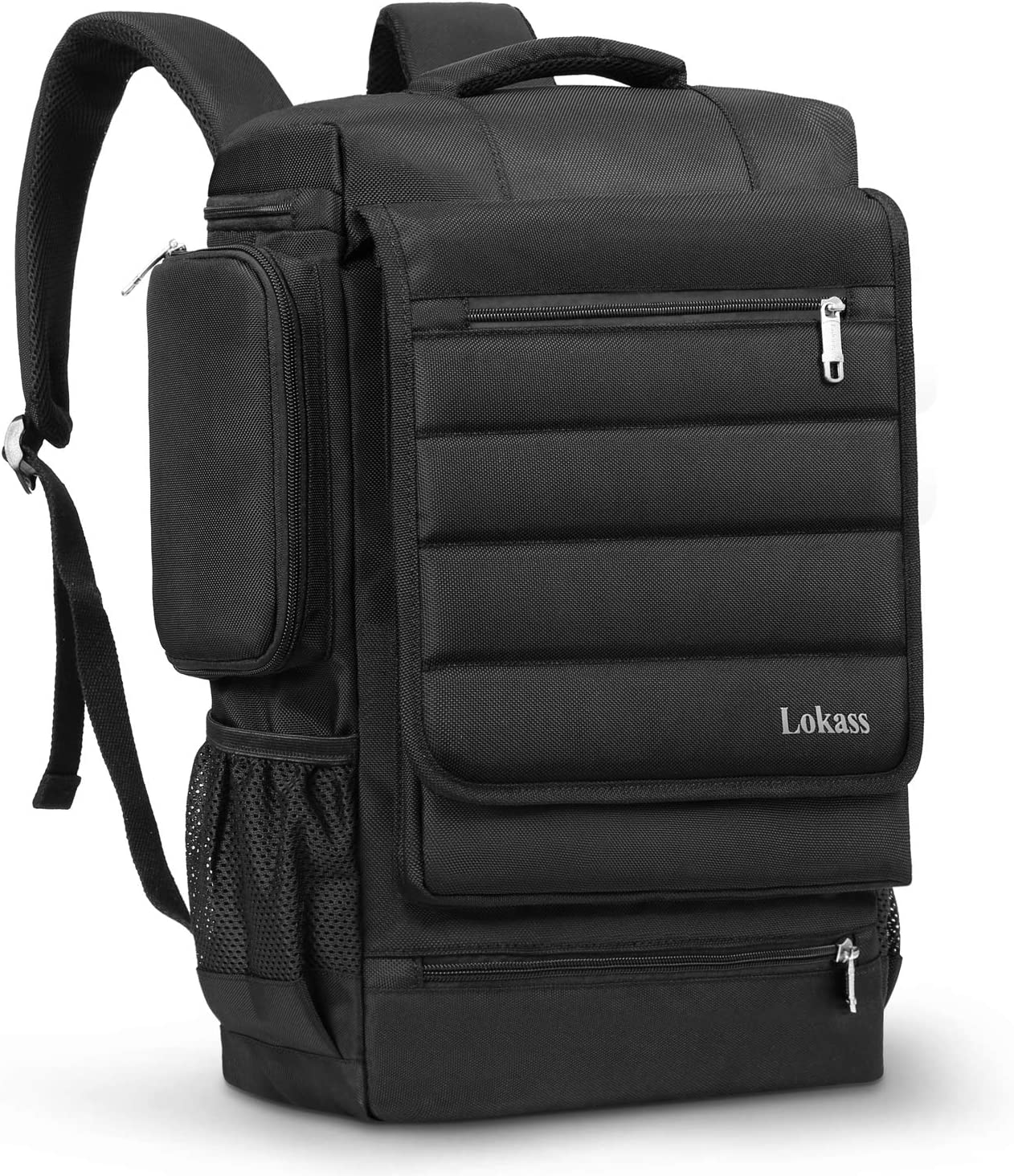 LOKASS 17.3 Inch Laptop Backpack for Men Women, Durable Travel Backpack Water Resistant Computer Bag Rucksack Hiking Knapsack College Bookbag Fits up to 17-17.3 Inches Laptop Notebooks, Black