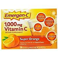 Emergen-C (30 Count, Super Orange Flavor, 1 Month Supply) Dietary Supplement Fizzy...