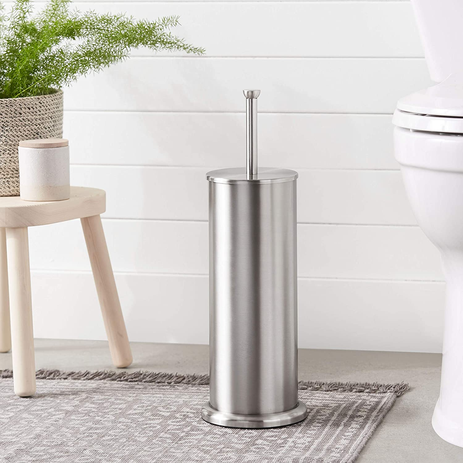 Basics Bathroom Accessory Collection Classic Square Toilet Brush Holder Standard