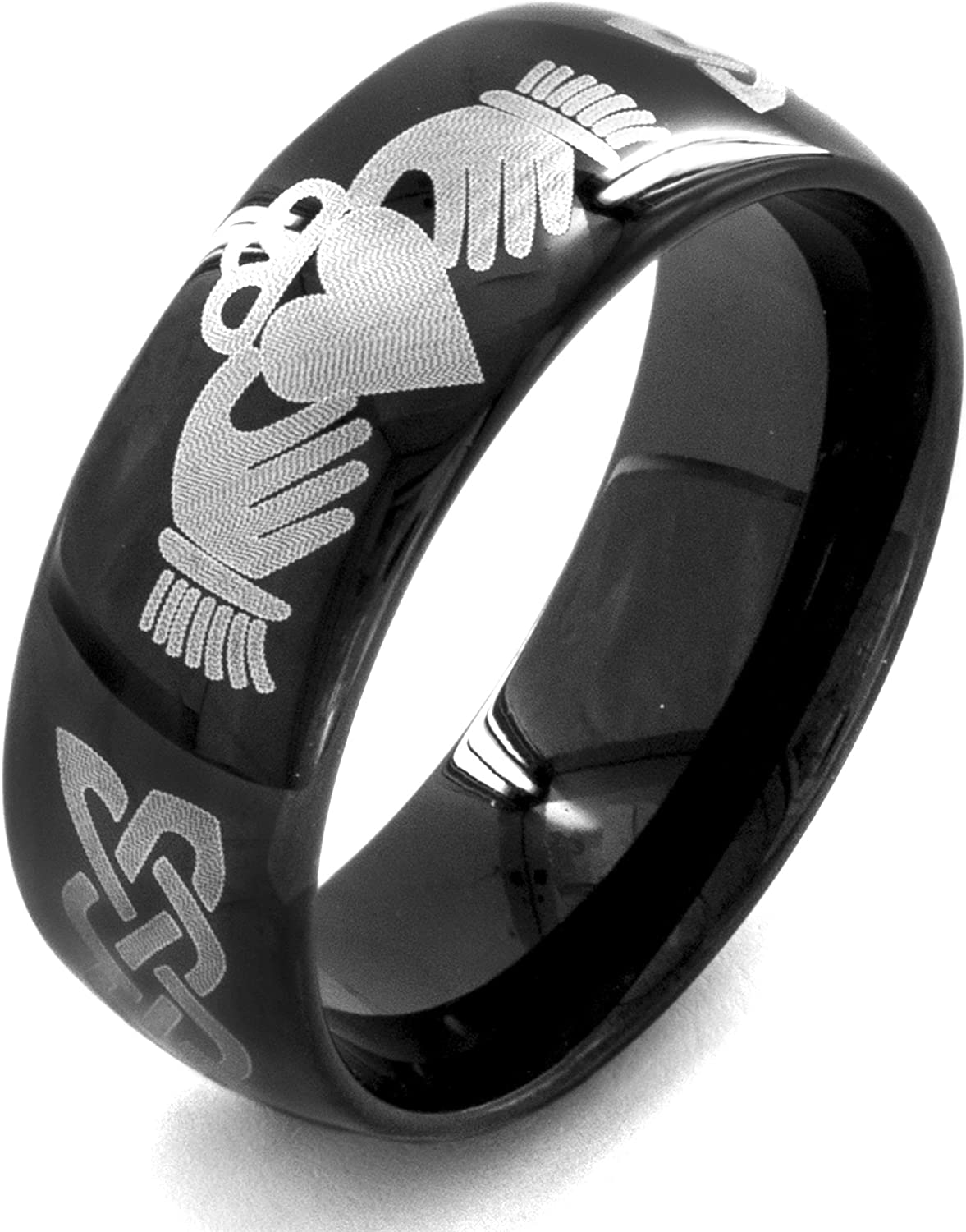 West Coast Jewelry | Crucible Black Plated Stainless Steel Claddagh Ring (8 mm) - Sizes 7-13