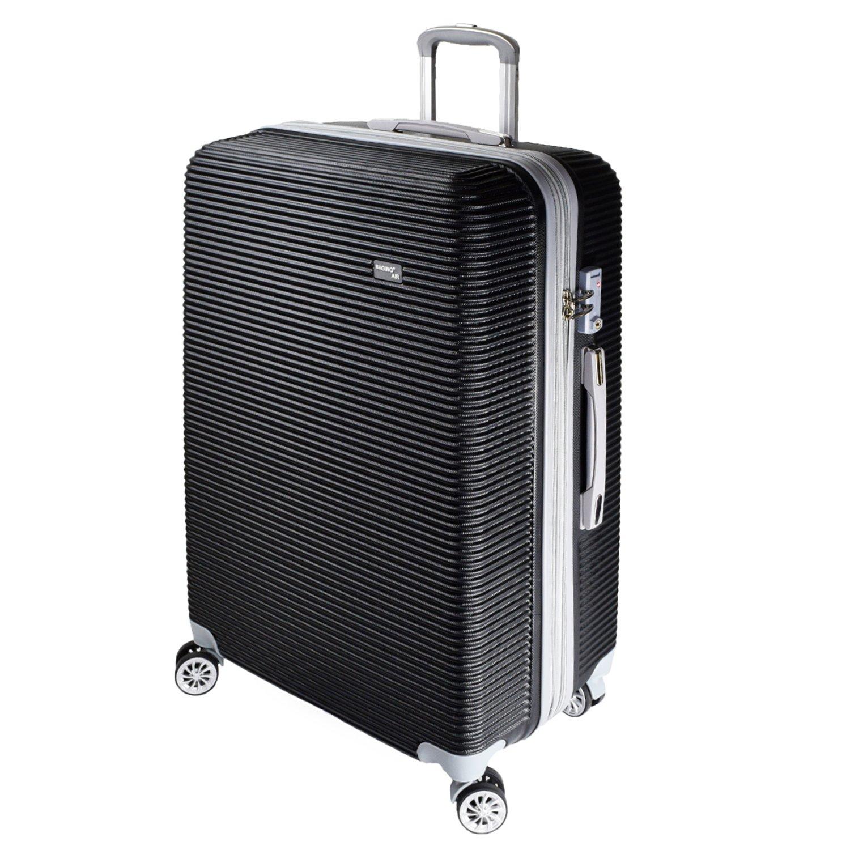 【神戸リベラル】 BAGING 軽量 拡張ファスナー付き S,M,Lサイズ スーツケース キャリーバッグ 8輪キャスター TSAロック付き B079GRVT2P Lサイズ(長期用 85/95L)|ブラック ブラック Lサイズ(長期用 85/95L)
