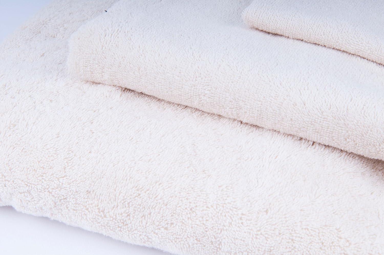 Natur Duschtuch 100/% Bio-Baumwolle GOTS Handtuch G/ästetuch Sporttuch 3 er Pack 30x30cm 50x100cm 70x140cm Frottee 450gr//m/² 30x30cm Beige