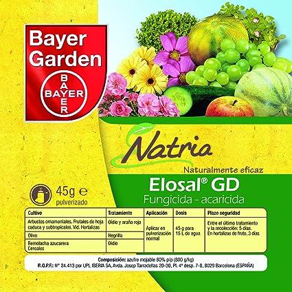 Bayer Garden Elosal - Fungicida Acaricida organico contra el oidio y araña roja, 45g