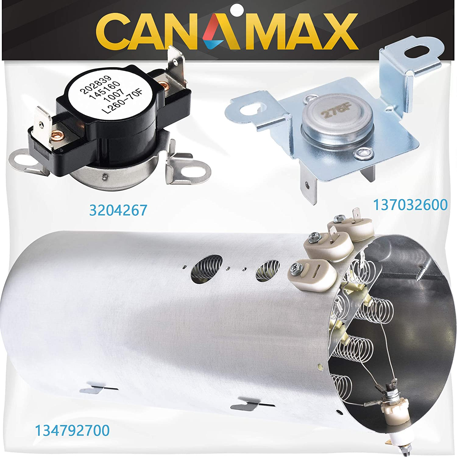 134792700 Dryer Heating Element & 137032600 Thermal Limiter & 3204267 Thermostat Kit Premium Replacements by Canamax - Compatible with Electrolux, Frigidaire Dryers
