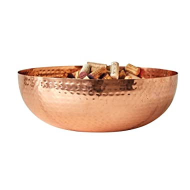 Creative Co-Op DA7390 Round Hammered Metal Bowl with Copper Finish 14 L x 14 W x 4.5 H