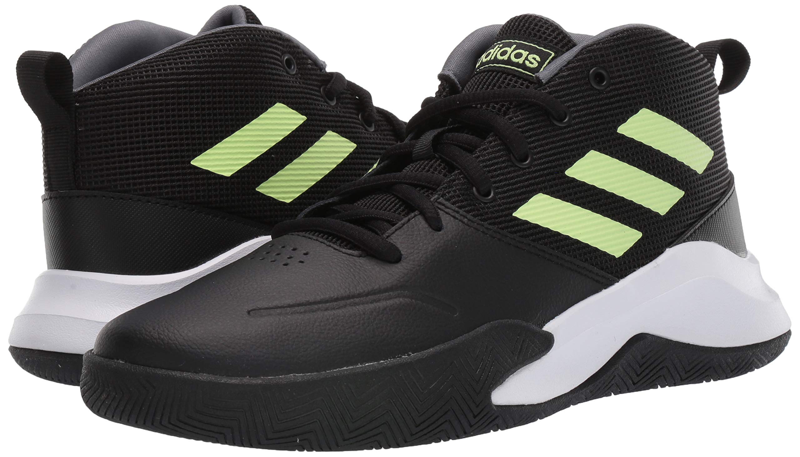 adidas Unisex-Kid's OwnTheGame Wide Basketball Shoe, Black/hi-res Yellow/Onix, 1 W US Little Kid