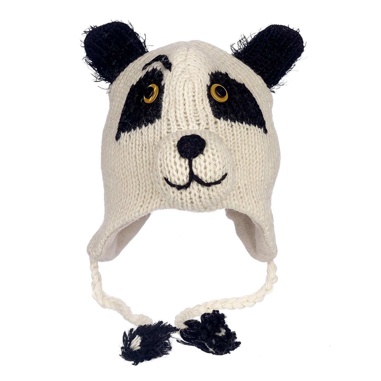Paper High Women's Fun Panda Handmade Woollen Animal Hat with Fleece Lining