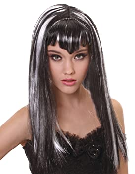 Peluca vampiro larga negra y blanca con flequillo mujer