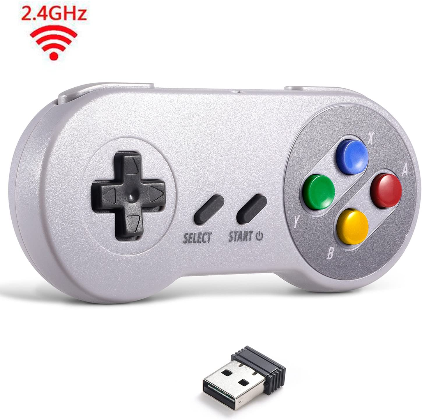 2.4 GHz Wireless USB Controller Compatible with Super Famicom Games, iNNEXT SNES Retro USB Classic Controller Joypad Joystick for Windows PC MAC Linux ...