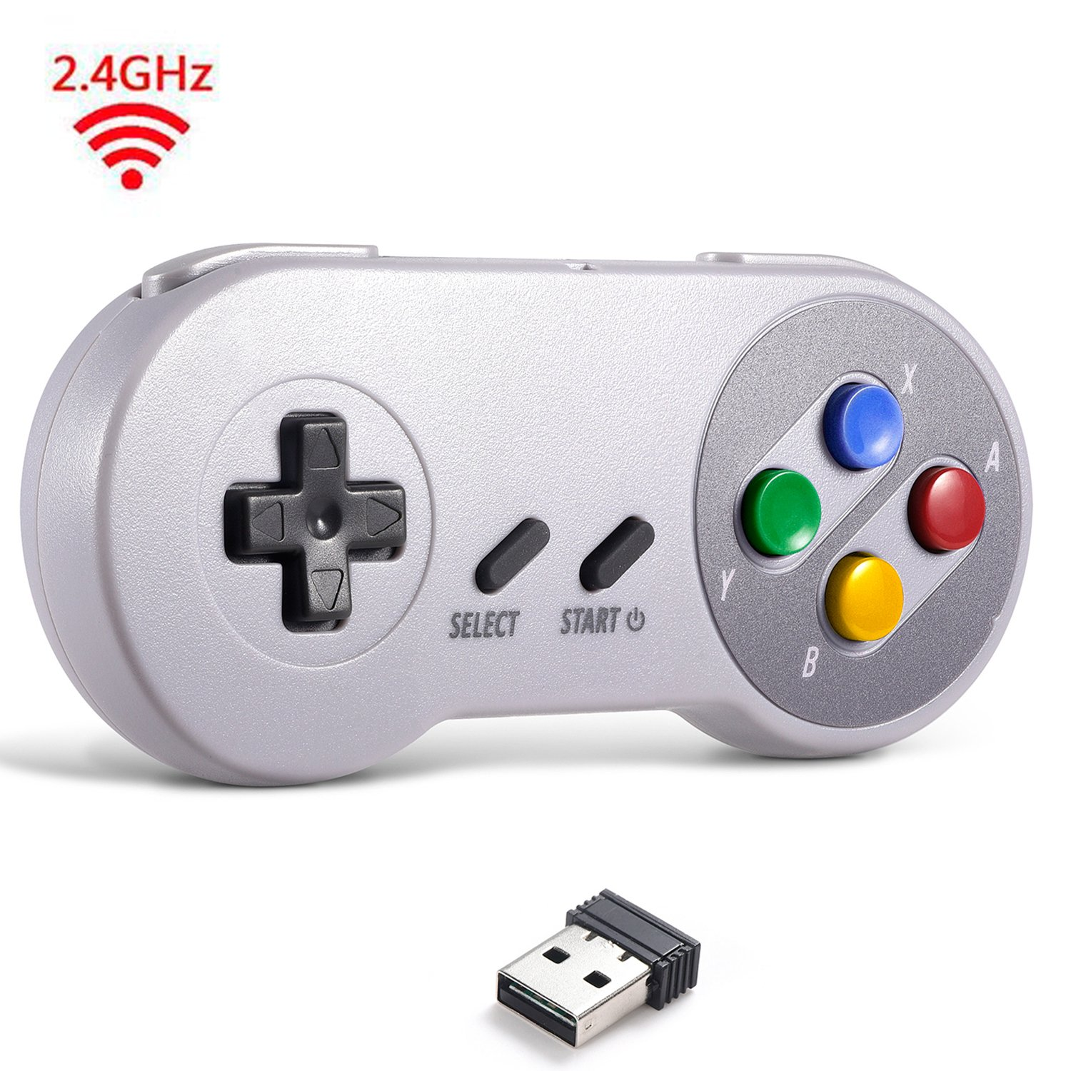 2.4 GHz Wireless USB Controller Compatible with Super Famicom Games, iNNEXT SNES Retro USB Classic Controller Joypad Joystick for Windows PC MAC Linux Genesis (Multi-Colored Keys)