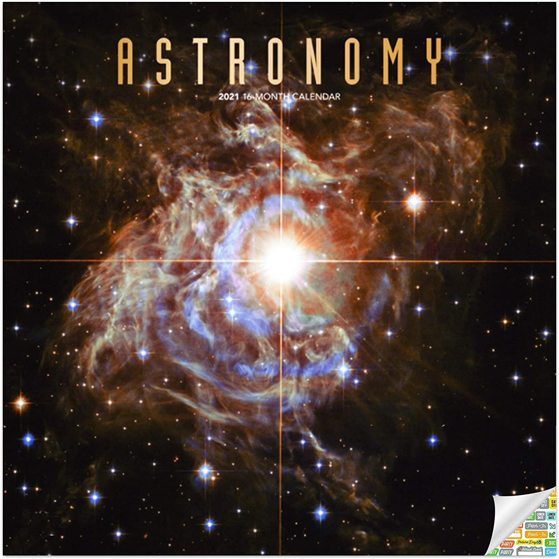 Astronomy Calendar 2021 Bundle - Deluxe 2021 Space Wall Calendar with Over 100 Calendar Stickers (NASA Gifts, Office Supplies)