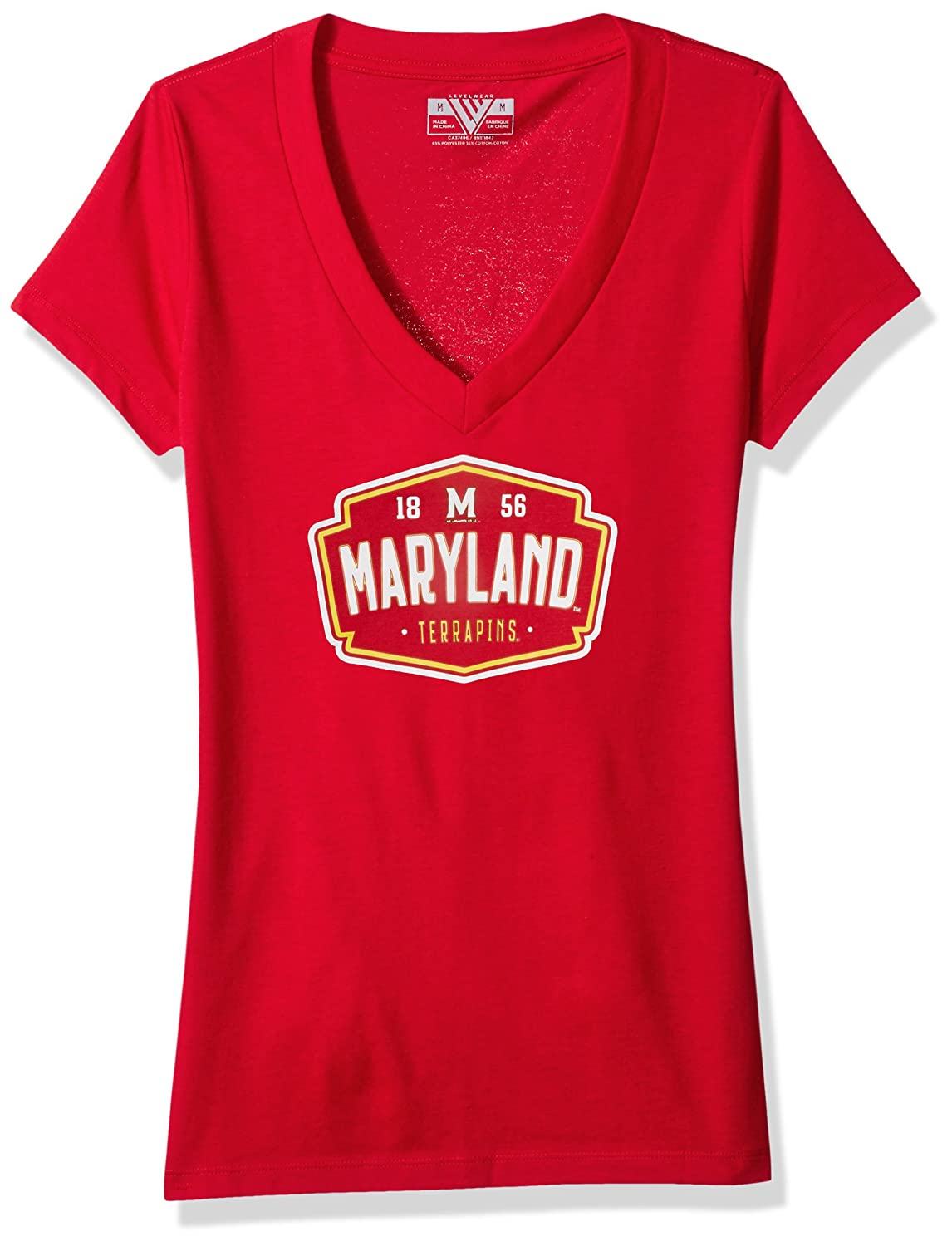 Levelwear LEY9R NCAA Maryland Terrapins Adult Women Entice Crested V-Neck Tee Solid Flame Red Large