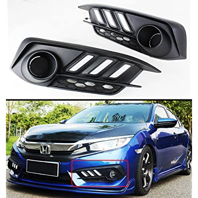 Fits for 2016-2020 Honda Civic Light Bezel Cover W/White & Amber LED DRL Daytime Running Light: Automotive