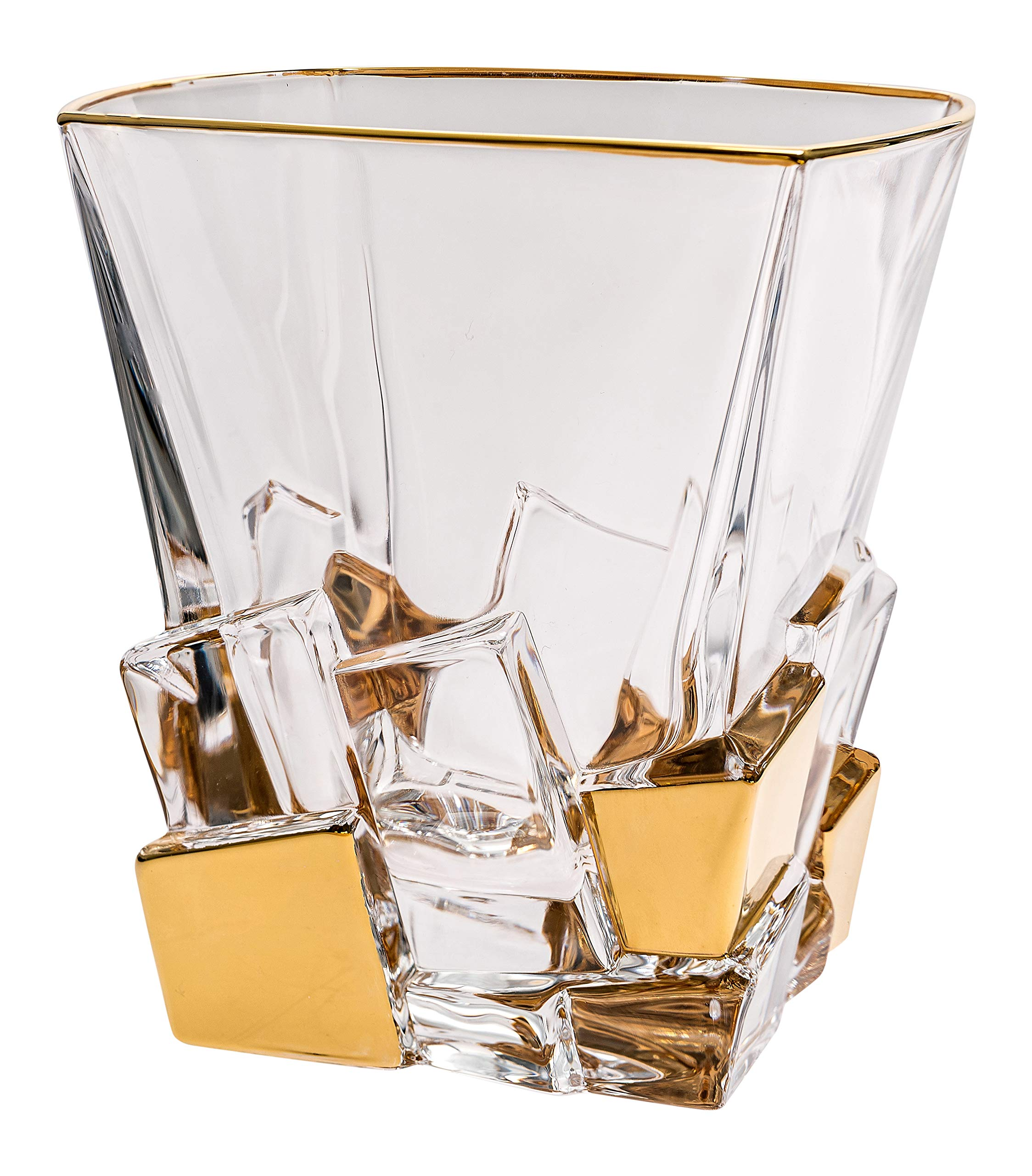 Barski - European Quality Glass - Crystal - Set of 6 - Square Shaped - Double Old Fashioned Tumblers - DOF - 11.7 oz. - with Gold Ice Cubes Design - Glasses are Made in Europe