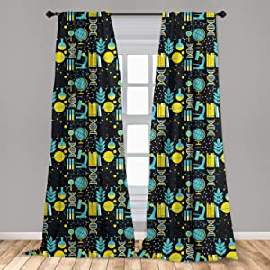 Ambesonne Education Curtains, Science Class Themed Biology Chemistry and Physics Protons Neutrons, Window Treatments 2 Panel Set for Living Room Bedroom Decor, 56