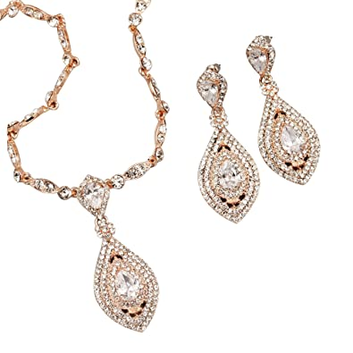 Image Unavailable. Image not available for. Color  Iris Island Bridal  Austrian Crystal Rhinestone CZ Necklace Earrings Jewelry Set in Rose Gold  for wedding a9e678156a76