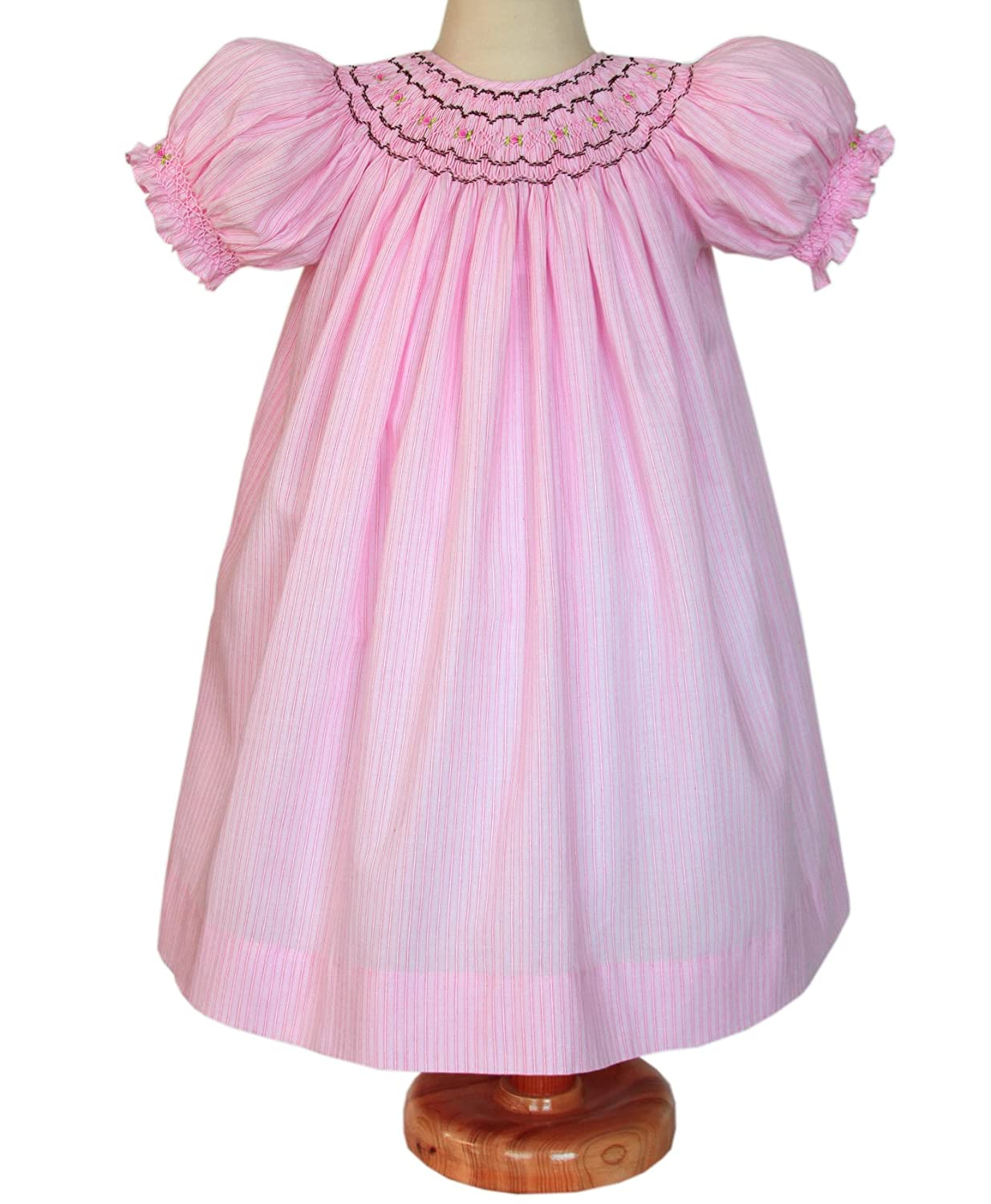 a914145ffd045 Amazon.com: Carouselwear Girls Pink Hand Smocked Bishop Dress and Brown  Embroidery: Clothing